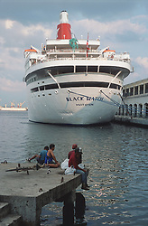 Cruise liner in Havana harbour; Cuba,