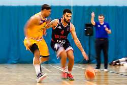 Lewis Champion of Bristol Flyers takes on Andre Lockhart of London Lions - Photo mandatory by-line: Robbie Stephenson/JMP - 10/04/2019 - BASKETBALL - UEL Sports Dock - London, England - London Lions v Bristol Flyers - British Basketball League Championship