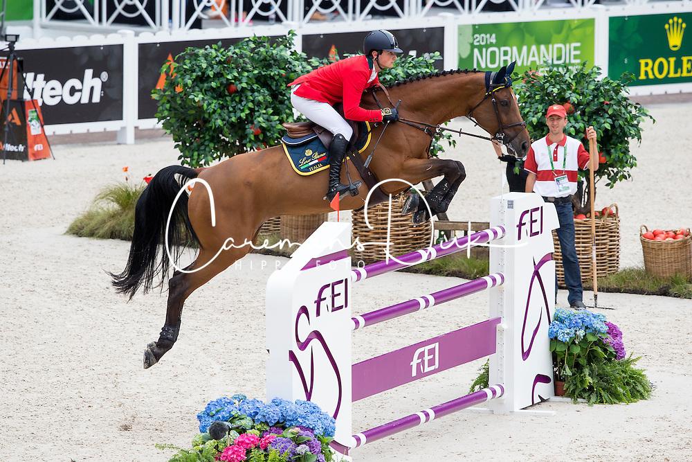 Lorenzo De Luca, (ITA), Evita Van De Veldbalie - Team & Individual Competition Jumping Speed - Alltech FEI World Equestrian Games™ 2014 - Normandy, France.<br /> © Hippo Foto Team - Leanjo De Koster<br /> 02-09-14