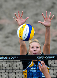 Pleun Ypma in action during the first day of the beach volleyball event King of the Court at Jaarbeursplein on September 9, 2020 in Utrecht.