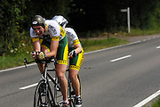 UK, Chelmsford, 28 June 2009: NEIL HORNETT (S) and CHARLOTTE HORNETT (LS) CHELMER.C.C.  TANDEM. Images from the Chelmer Cycle Club's Open Time Trial Event on the E9 / 25 course. Photo by Peter Horrell / http://peterhorrell.com .