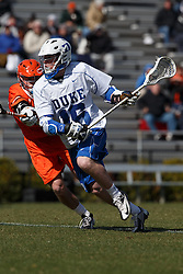 2013 February 17: Kyle Keenan #16 of the Duke Blue Devils during a 3-15 win over the Mercer Bears at Koskinen Stadium in Durham, NC.
