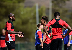 Arnold Garita of Bristol City and Bobby Reid of Bristol City share a joke  - Mandatory by-line: Joe Meredith/JMP - 19/07/2016 - FOOTBALL - Bristol City pre-season training camp, La Manga, Murcia, Spain