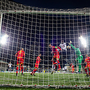 ANDORRA LA VELLA, ANDORRA. June 11. Kurt Zouma #15 of France challenges for a cross with goalkeeper Josep Gomes #1 of Andorra and Ildefons Lima #6 of Andorra before forcing the ball home for his sids fourth goal during the Andorra V France 2020 European Championship Qualifying, Group H match at the Estadi Nacional d'Andorra on June 11th 2019 in Andorra (Photo by Tim Clayton/Corbis via Getty Images)
