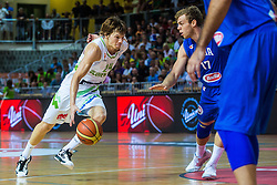 Jaka Klobucar of Slovenia vs Nicolo Melli of Italy during friendly basketball match between National teams of Slovenia and Italy at day 3 of Adecco Cup 2015, on August 23 in Koper, Slovenia. Photo by Grega Valancic / Sportida