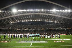 ATHENS, Nov. 3, 2017  Players line up before the UEFA Europa League group D match between AEK Athens and AC Milan in Athens, Greece on Nov. 2, 2017. The match ended with a 0-0 tie. (Credit Image: © Lefteris Partsalis/Xinhua via ZUMA Wire)