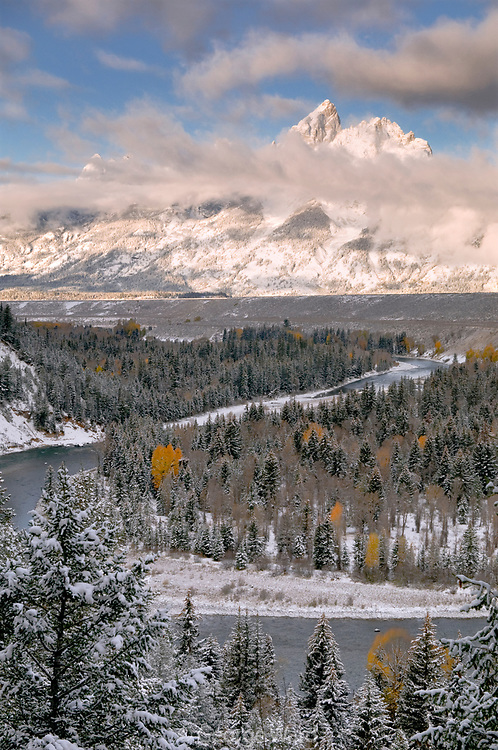 Clearing Winter Storm at Sunrise, Snake River Overlook, Grand Teton National Park, Wyoming