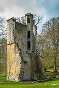 Ancient ruin of the house and dovecote of Minster Lovell Hall, a 15th century manor house in The Cotswolds, Oxfordshire, UK