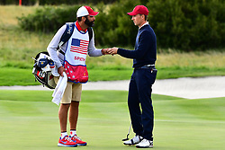 September 30, 2017 - Jersey City, New Jersey, U.S - PGA Tour caddy Michael Greller and Jordan Spieth of the US Team during Saturday matches of the Presidents Cup at Liberty National Golf Club in Jersey City, NJ  (Credit Image: © Brian Ciancio via ZUMA Wire)