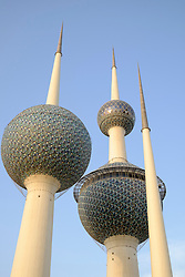 Detail of Kuwait Towers in Kuwait City, Kuwait.
