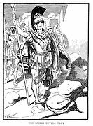 Trojan War: 13th or 12th century BC. The Greeks outside Troy. Wood engraving c1900