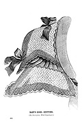 Baby's Hood - Knitting from Godey's Lady's Book and Magazine, December, 1864, Volume LXIX, (Volume 69), Philadelphia, Louis A. Godey, Sarah Josepha Hale,