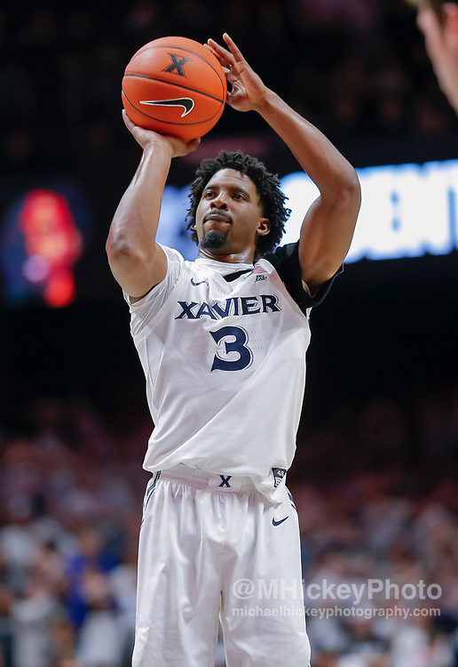 CINCINNATI, OH - NOVEMBER 13: Quentin Goodin #3 of the Xavier Musketeers shoots the ball during the game against the Wisconsin Badgers at Cintas Center on November 13, 2018 in Cincinnati, Ohio. (Photo by Michael Hickey/Getty Images) *** Local Caption *** Quentin Goodin