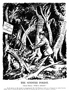 "The Sinister Forest. Childe Thomas. ""Who's afraid?"" [In his advance to the assault on unemployment, Mr J H Thomas is liable to be hampered by certain socialist pledges which, if carried out, must have the effect of increasing the very evil he is anxious to overcome.] (an Interwar cartoon shows Labour poltician Jimmy Thomas walking through a forest of Socialist Theories, Repeal of Eight Hours Act, Socialist Pledges, Anti-Safeguarding and To The Stronghold Of Unemployment)"