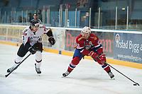 Ishockey<br /> 17. April 2015<br /> Landskamp<br /> Bergenshallen<br /> Norge - Latvia 2 - 1<br /> Janis Andersons (L) , Latvia<br /> Martin Røymark (R) , Norge<br /> Foto: Astrid M. Nordhaug