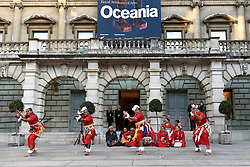 """© Licensed to London News Pictures. 24/09/2018. LONDON, UK. Members from Tonga and Ngati Ranana, the London Maori Club, take part in a ceremonial procession and blessing ceremony for the forthcoming """"Oceania"""" exhibition at the Royal Academy of Arts.  The exhibition runs 29 September – 10 December 2018, representing the art of Melanesia, Micronesia and Polynesia, encompassing the vast Pacific region from New Guinea to Easter Island, Hawaii to New Zealand.  Photo credit: Stephen Chung/LNP"""