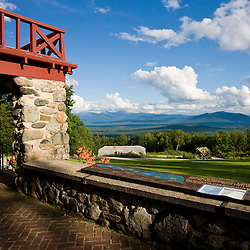 The view of the White Mountains from the front porch of the Weeks Lodge at the John Wingate Weeks State Historic Site.  Lancaster, New Hampshire.
