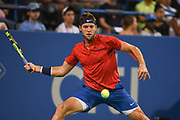 JACK SOCK stretches for a forehand during his second round match at the Citi Open at the Rock Creek Park Tennis Center in Washington, D.C.