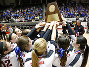 Coppell celebrates their five-set win over New Braunfels in the Class 5A state championship at the Curtis Culwell Center in Garland, Texas, on November 17, 2012.  (Stan Olszewski/The Dallas Morning News)