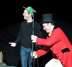 Circus of Comedy <br /> at The Arcola Tent, Dalston, Great Britain <br /> 22nd October 2011 <br /> <br /> <br /> Andrew Maxwell <br /> Dan March <br /> of The Real MacGuffins<br /> <br /> <br /> Photograph by Elliott Franks