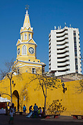Clock tower, Cartagena historic old city UNESCO World heritage site, capital of Bolivar department, Colombia.