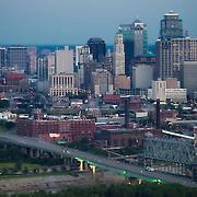 Aerial view of downtown Kansas City, MO skyline.