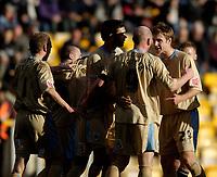 Photo: Jed Wee.<br />Bradford City v Bristol City. Coca Cola League 1. 18/02/2006.<br />Bristol celebrate with goalscorer Steve Brooker.