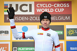December 26, 2018 - Heusden-Zolder, BELGIUM - Belgian Witse Meeussen wearing jersey of leader in the overall ranking pictured on the podium after the men junior race of the seventh stage (out of nine) in the World Cup cyclocross, Wednesday 26 December 2018 in Heusden-Zolder, Belgium. BELGA PHOTO DAVID STOCKMAN (Credit Image: © David Stockman/Belga via ZUMA Press)