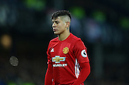 Marcos Rojo of Manchester United looks on. Premier league match, Everton v Manchester United at Goodison Park in Liverpool, Merseyside on Sunday 4th December 2016.<br /> pic by Chris Stading, Andrew Orchard sports photography.