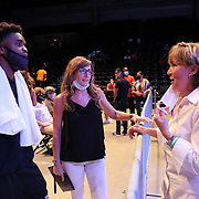 DAYTONA BEACH, FL - AUGUST 15: Promoter Christy Martin talks with fans during the Alberto Ignacio Palmetta v Tre'Sean Wiggins boxing match at the Ocean Center on August 15, 2020 in Daytona Beach, Florida. (Photo by Alex Menendez/Getty Images) *** Local Caption *** Christy Martin
