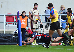 James Dun of Bristol Rugby scores his maiden try - Mandatory by-line: Paul Knight/JMP - 22/10/2017 - RUGBY - Ashton Gate Stadium - Bristol, England - Bristol Rugby v Doncaster Knights - B&I Cup