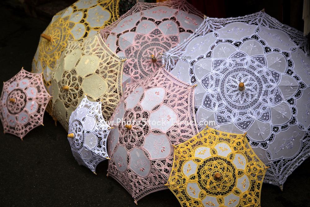 Italy, Sicily, lace Parasols