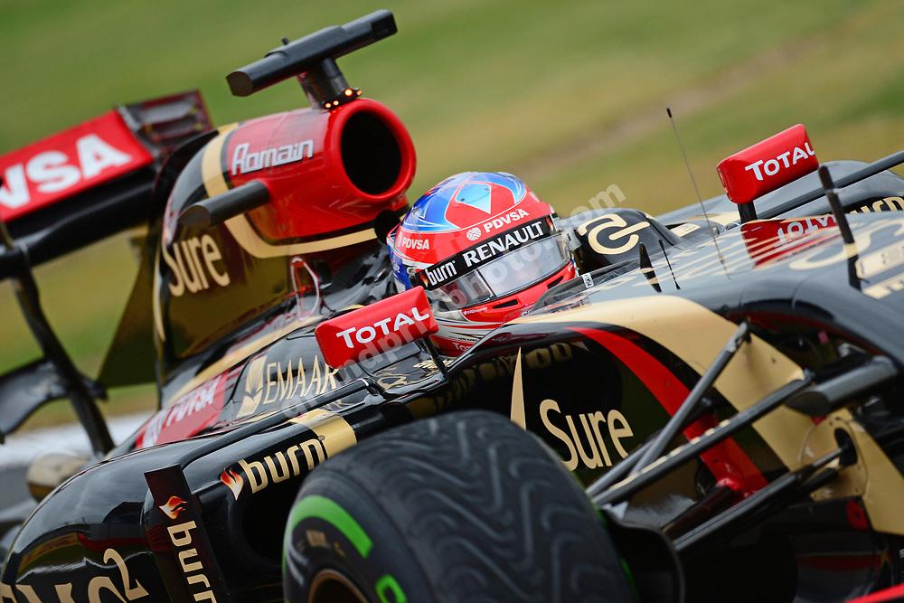 Romain Grosjean (Lotus-Renault) during wet qualifying for the 2014 British Grand Prix in Silverstone. Photo: Grand Prix Photo