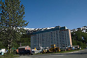 Begich Towers, Whittier, Alaska, home to 90% of Whittier's residents, originally built as army apartments. Formally known as Hodge Building.......The strangest town in Alaska, Whittier - only reachable by tunnel or ship. It's a stop off point for Cruise ships, and the Alaska raildroad. 90% of inhabitants live in one building! Originally established as a military base during World War two.