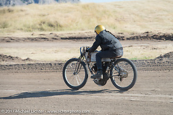 Xavier Muriel, Buckcherry's drummer, on his 1913 Mack racer in the Sons of Speed banked dirt oval racing at the Full Throttle Saloon during the annual Sturgis Black Hills Motorcycle Rally. Sturgis, SD. USA. Thursday August 10, 2017. Photography ©2017 Michael Lichter.