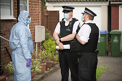 © Licensed to London News Pictures 06/06/2021. <br /> Bexleyheath, UK. Forensics at the property late on Sunday afternoon. A man has been arrested on suspicion of murder after the body of an 89 year old woman was found dead at a property in Bexleyheath, London yesterday, police are still on scene. Photo credit:Grant Falvey/LNP