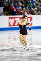 KELOWNA, BC - OCTOBER 25:  Japanese figure skater Marin Honda competes at Skate Canada International in the ladies short program at Prospera Place on October 25, 2019 in Kelowna, Canada. (Photo by Marissa Baecker/Shoot the Breeze)