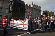 Loyalists march to the Cenotaph and then to Downing Street via Parliament Square to demonstrate against the Northern Ireland Protocol between the United Kingdom and the European Union on 9th October 2021 in London, United Kingdom. The Northern Ireland Protocol was agreed in Brexit talks between the UK and the EU in order to protect the 1998 Good Friday Agreement and it was implemented so as to avoid a hard border between Northern Ireland and the Republic of Ireland.