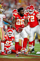 Kansas City Chiefs running back Damien Williams (26) reacts during the NFL Super Bowl 54 football game between the San Francisco 49ers and Kansas City Chiefs Sunday, Feb. 2, 2020, in Miami Gardens, Fla.<br /> <br /> ( Tom DiPace via AP)