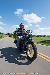 Paul Bessade of France riding his 1929 Henderson KJ during Stage 4 of the Motorcycle Cannonball Cross-Country Endurance Run, which on this day ran from Chatanooga to Clarksville, TN., USA. Monday, September 8, 2014.  Photography ©2014 Michael Lichter.