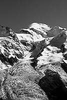 Glacier des Bossons & Mont Blanc in the Chamonix Valley, France