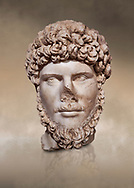 Roman statue of Emperor Lucius Verus .Marble. Perge. 2nd century AD. Inv no 2010/539 . Antalya Archaeology Museum; Turkey. Against a warm art background. .<br /> <br /> If you prefer to buy from our ALAMY STOCK LIBRARY page at https://www.alamy.com/portfolio/paul-williams-funkystock/greco-roman-sculptures.html . Type -    Antalya     - into LOWER SEARCH WITHIN GALLERY box - Refine search by adding a subject, place, background colour, museum etc.<br /> <br /> Visit our ROMAN WORLD PHOTO COLLECTIONS for more photos to download or buy as wall art prints https://funkystock.photoshelter.com/gallery-collection/The-Romans-Art-Artefacts-Antiquities-Historic-Sites-Pictures-Images/C0000r2uLJJo9_s0