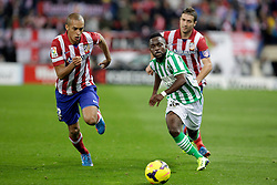 27.10.2013, Estadio Vicente Calderon, Madrid, ESP, Primera Division, Atletico Madrid vs Real Betis, 10. Runde, im Bild Atletico de Madrid's Miranda (L) and Gabi (R) and Real Betis Cedrick // Atletico de Madrid's Miranda (L) and Gabi (R) and Real Betis Cedrick during the Spanish Primera Division 10th round match between Club Atletico de Madrid and Real Betis at the Estadio Vicente Calderon in Madrid, Spain on 2013/10/28. EXPA Pictures © 2013, PhotoCredit: EXPA/ Alterphotos/ Victor Blanco<br /> <br /> *****ATTENTION - OUT of ESP, SUI*****