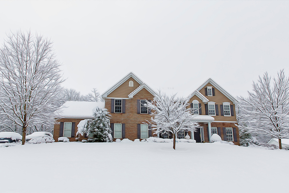 A chilly winter view from the front of the house