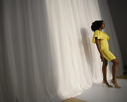 August 19, 2017 - Toronto, Ontario, Canada - A model getting ready to walk on the ramp  during the 4th day of African Fashion Week in Toronto, Canada on 19 August 2017. (Credit Image: © Arindam Shivaani/NurPhoto via ZUMA Press)