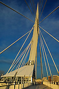 Detail of Esplanade bridge over the Red River showing restaurent <br /> Winnipeg<br /> Manitoba<br /> Canada