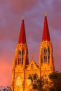 St Helena Cathedral, sunset. Helena, Montana.