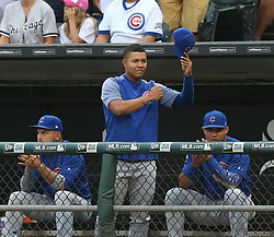 July 26, 2017 - Chicago, IL, USA - Chicago Cubs pitcher Jose Quintana waves to his former teammates while being recognized on the scoreboard by the Chicago White Sox organization, during the first inning at Guaranteed Rate Field in Chicago on Wednesday, July 26, 2017. (Credit Image: © Nuccio Dinuzzo/TNS via ZUMA Wire)