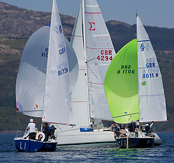 Sailing - SCOTLAND  - 25th May 2018<br /> <br /> Opening days racing the Scottish Series 2018, organised by the  Clyde Cruising Club, with racing on Loch Fyne from 25th-28th May 2018<br /> <br /> Sonatas, GBR8173N, Kalm, Steven Lyon, Cove, Sonata OD, GBR8011N, Old School, MacNish/Galbraith/Chas, RGYC<br /> <br /> Credit : Marc Turner<br /> <br /> Event is supported by Helly Hansen, Luddon, Silvers Marine, Tunnocks, Hempel and Argyll & Bute Council along with Bowmore, The Botanist and The Botanist