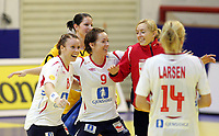 05.12.2008 Ohrid(FYR Macedonia)<br />Ukraine-Norway European women's handball championship<br />Breivang Karoline(L) with Lunde Kristine(2L) and Haraldsen  Katrine (3L) Norway<br />Foto:Aleksandar Djorovic